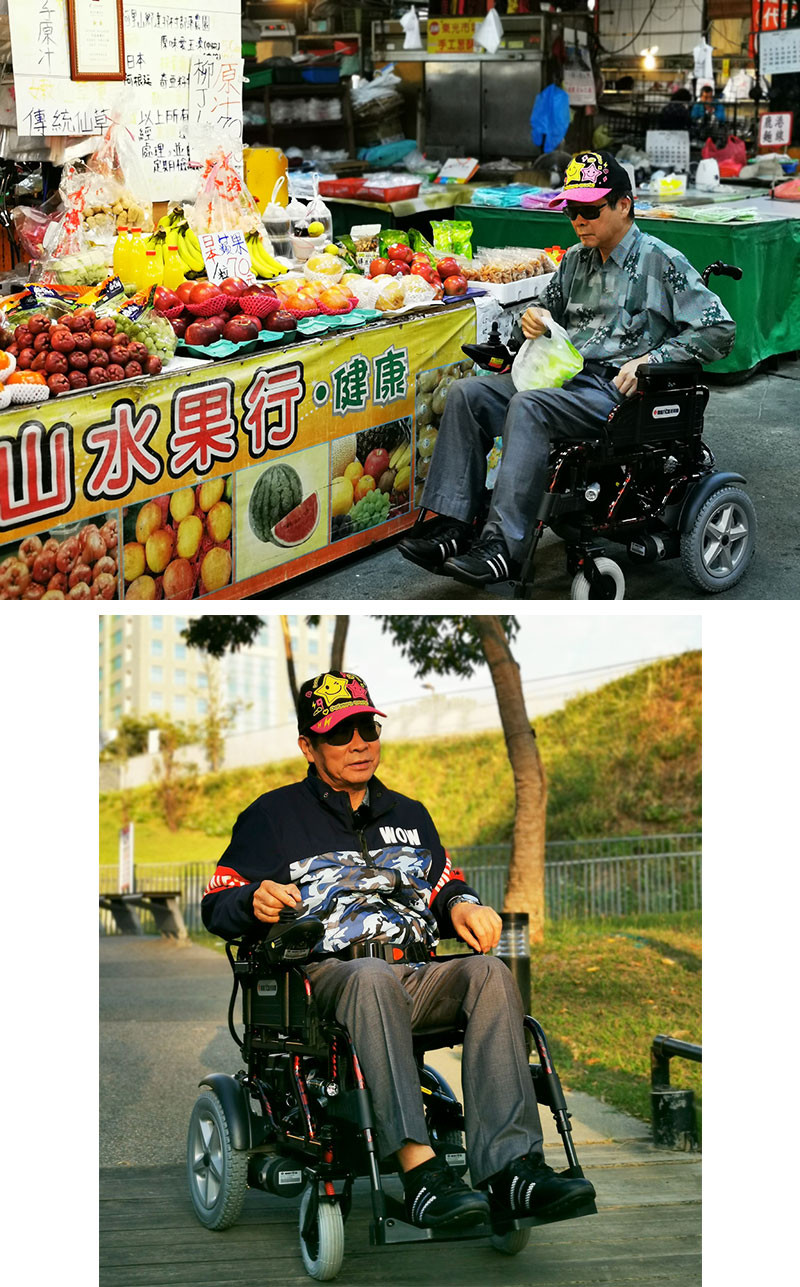 鄭阿公使用電動輪椅